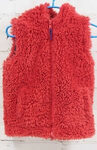 Apprehensive Mini Boden Thick Plush Fuzzy Fleece Vest Hood Dark Red Zip Front Girls Sz 2-3 Yr Girls' Clothing (newborn-5t)