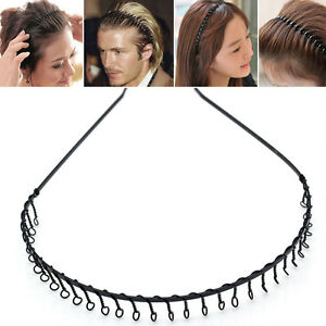 37.5cm Black Comb Toothed Wavy Hair Head Band Hairband Metal Hair ... 757fc54f0bd