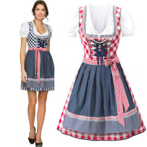 2d7b0a0902b Details about Dirndl Dresses German Oktoberfest Bavarian Beer Wench  Costumes Maid Outfit Fancy
