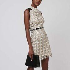 Topshop Daisy Contrast Crochet Shift Dress (size UK 10=US 6)