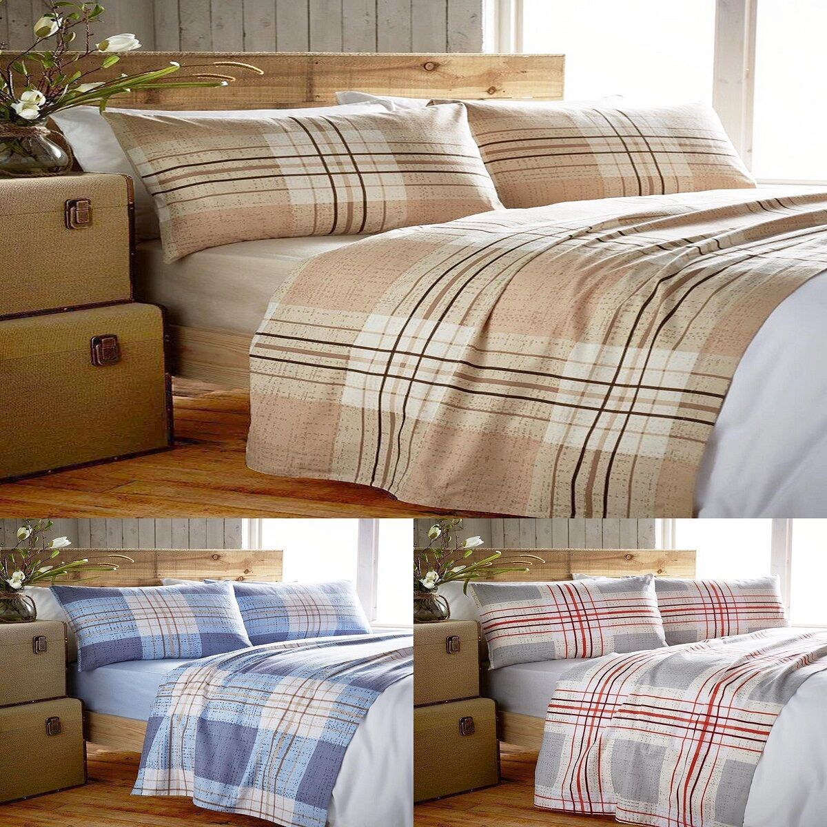 multi checks stripes cotton flannel fitted flat sheet. Black Bedroom Furniture Sets. Home Design Ideas