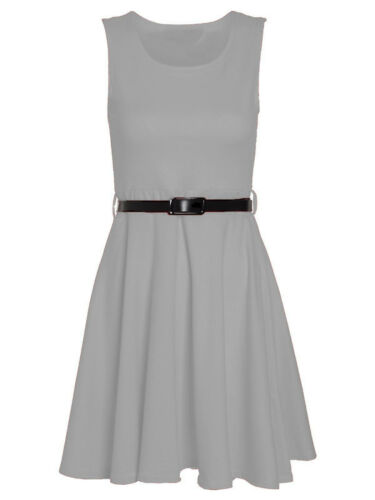 Womens Ladies Sleeveless Pleated Belted Flared Skater Dress Top UK Plus Size
