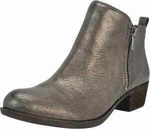 Lucky Brand Womens Basel Leather Almond Toe Ankle Fashion, Pewter, Size 6.0