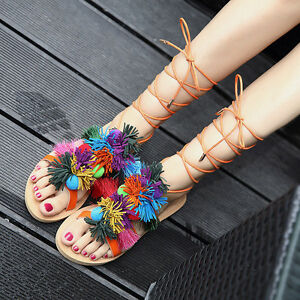 Details about Women Lace Roman Up Pom pom Gypsy Gladiator Shoes Tassel Strap Sandals Flat Hot