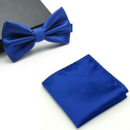 Men Checks Matching Bowtie Bow Tie Handkerchief Pocket Square Hanky Set