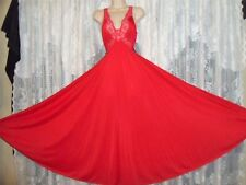 """VTG RED OLGA Butterfly Lace Full BODYSILK Nightgown Negligee Gown M L 56"""" 9297"""