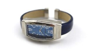 CHICO-039-S-Silver-Tone-Blue-Croc-Embossed-Hinged-Cuff-Bangle-Bracelet-Watch-New