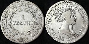 1 Franken 1807 Fürstentum Lucca Und Piombino Us Italienisch Ag Seltene #1911