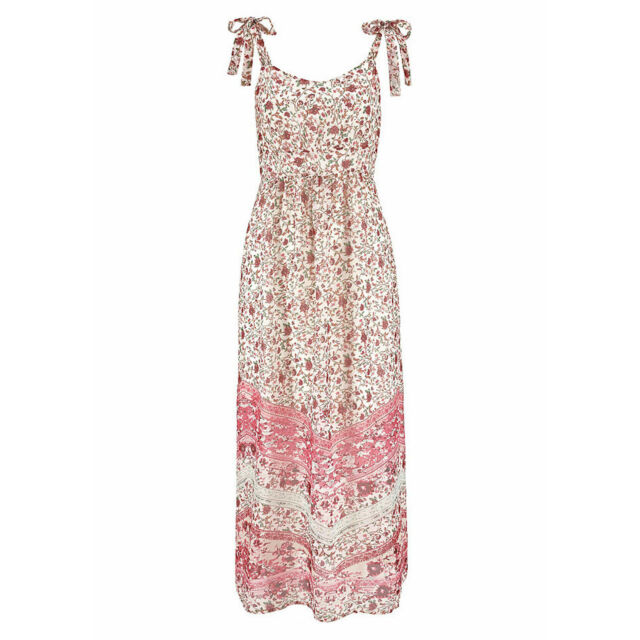 genial Gr.42 XL MAXIKLEID Maxi Kleid Blümchen BOHO GOA rosa pastell Sommerkleid
