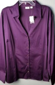 CATO-WOMAN-SPORTSWEAR-Women-039-s-Cotton-Blouse-Top-Shirt-Purple-Size-22-24-NWT-I34