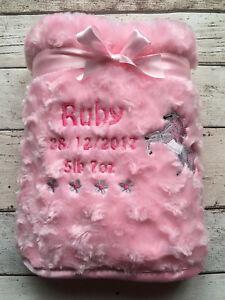 PERSONALISED BABY  BLANKET   FLUFFY ROSE BUD PINK OR BLUE   UNICORN