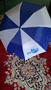 FLYBMI-BRITISH-MIDLANDS-AIRWAYS-MEMORABILIA-ADVERTISING-UMBRELLA-BLUE-WHITE