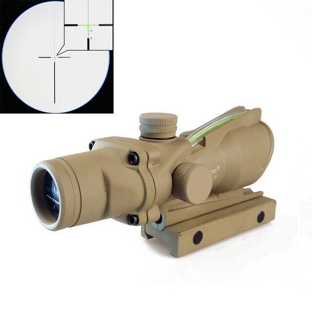 Tactical Riflescope Optic Sight ACOG 4X32 Green Fiber Sight Scope for Rifle