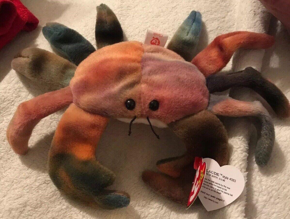 Beanie Babies Claude The Tye Dye Crab 1996 Ty Original Tag New w Errors