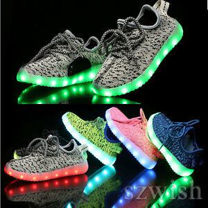 Flash-LED-Light-Up-Kids-Boys-Girls-Knitted-Trainers-Luminous-Sneaker-Shoes-25-37