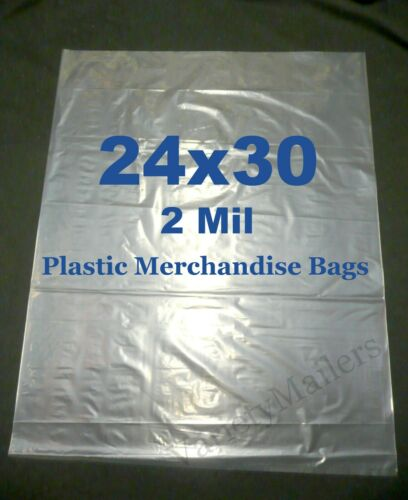 20 Extra Large 24x30 2 Mil Clear Flat Plastic Merchandise Storage Bags