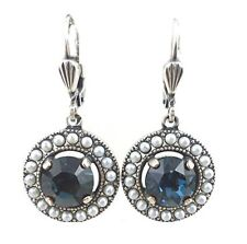 CATHERINE POPESCO Midnight Blue Circle Swarovski Silver Plated Earrings 1 3/16""