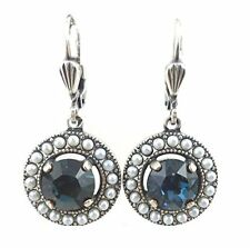 "CATHERINE POPESCO Midnight Blue Circle Swarovski Silver Plated Earrings 1 3/16"""