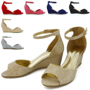 0a8c4bea0c0 Strappy Low Heel Wedge Womens Sandals Ankle Strap Party Peeptoe ...