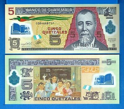 Guatemala P-122 5 Quetzal Year 2013 Uncirculated Polymer Banknote
