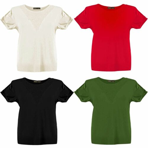 New Womens Plus Size Fishnet Insert Turn Up Sleeve T-Shirt Tops 8-22