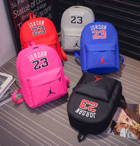 Michael Jordan 23 Backpack Black Red Pink Blue Gray Canvas Children ... 43fb8d44681f8