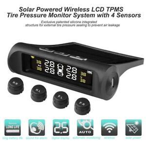 Wireless Solar TPMS LCD Car Tire Pressure Monitoring System 4 External Sensors