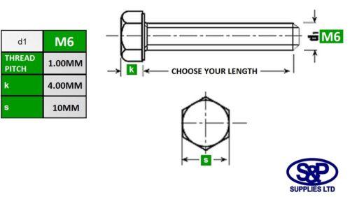 M6//6mm Totalmente Roscado Tornillo grado 8.8 Tornillos Pernos de Cabeza Hexagonal Hexagonal De Zinc