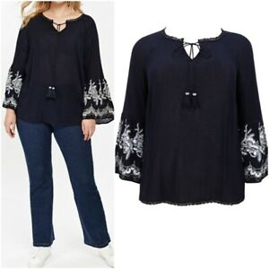 NEW-Evans-Ladies-NAVY-Embroidered-Bell-Sleeve-Top-Size-14-26-RRP-30