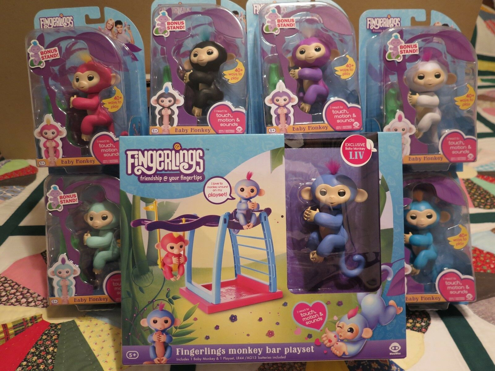 Complete Set of 6 WowWee Fingerlings Monkey Interactive Toy PLUS MONKEY BAR SET