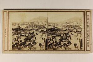 Italia-Napoli-Il-Port-c1865-Foto-Sommer-amp-Belhes-Napoli-Stereo-Vintage-Albumina