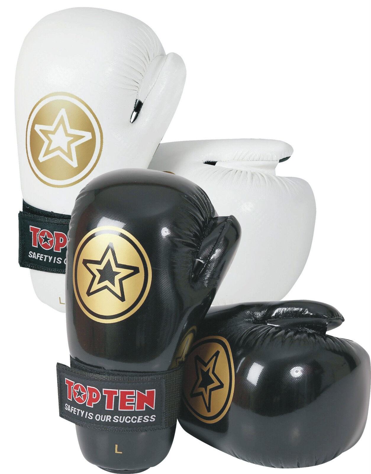 TOP TEN STAR Semikontakt Handschuhe Point Fighter Open Hands Boxhandschuhe Gold