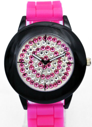 Henley Ladies Crazy BIG Face Quirky Diamante Watch, Silicone Strap, Colours NEW