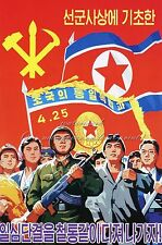 North Korea Communist Party Military Propaganda Anti American Poster Reprint #12