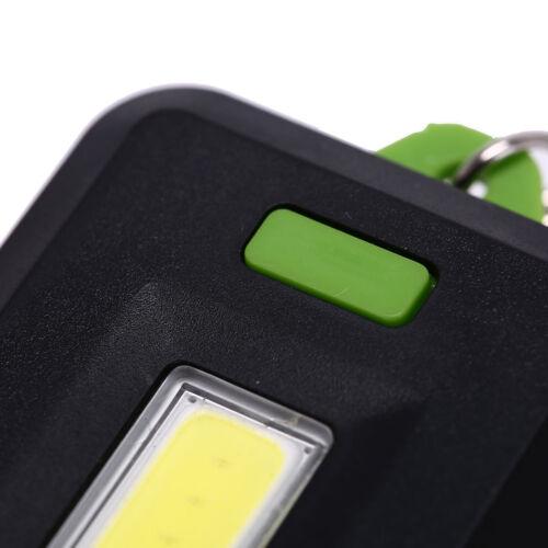 Mini Portable 3Modes Pocket COB Worklight Light LED Flashlight Torch Keychain S/&