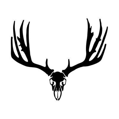 Car window decal truck outdoor sticker hunting hunter buck mule deer skull horns
