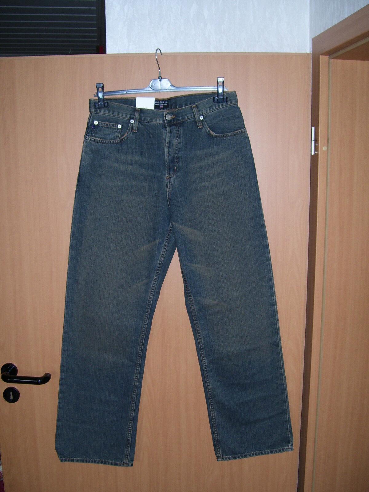 Polo by Ralph Lauren Fulton Herren Jeans Hose Knopfleiste blau W32 L32 NEU