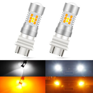 2X-3157-3156-Dual-Color-Amber-White-Switchback-LED-DRL-Turn-Signal-Light-Bulbs