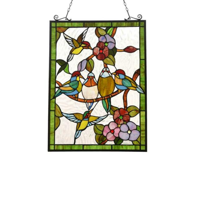 Stained Glass Window Panel Birds Hummingbirds Tiffany Style 18 X 25 For Sale Online Ebay