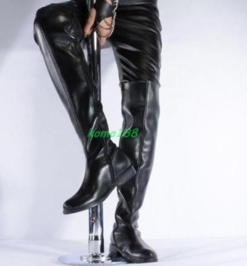 Sexy Uomo patent leather zip Lace up Over knee Round toe thigh high Knight Stivali