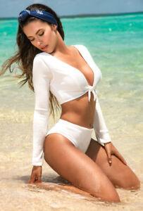 Sexy white long sleeve textured 2 piece bikini