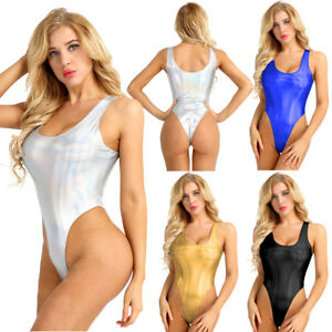 Damen-Einteiliger-Bodysuit-Wetlook-Body-Overall-Badeanzug-Bademode-Reizwaesche