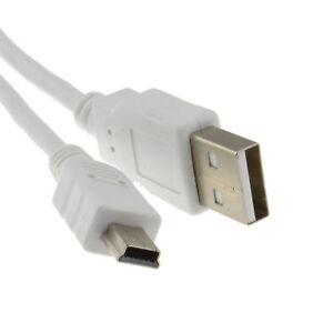 1-5-M-USB-2-0-A-a-Mini-B-De-5-pines-Cable-de-alimentacion-y-datos-de-Plomo-Blanco