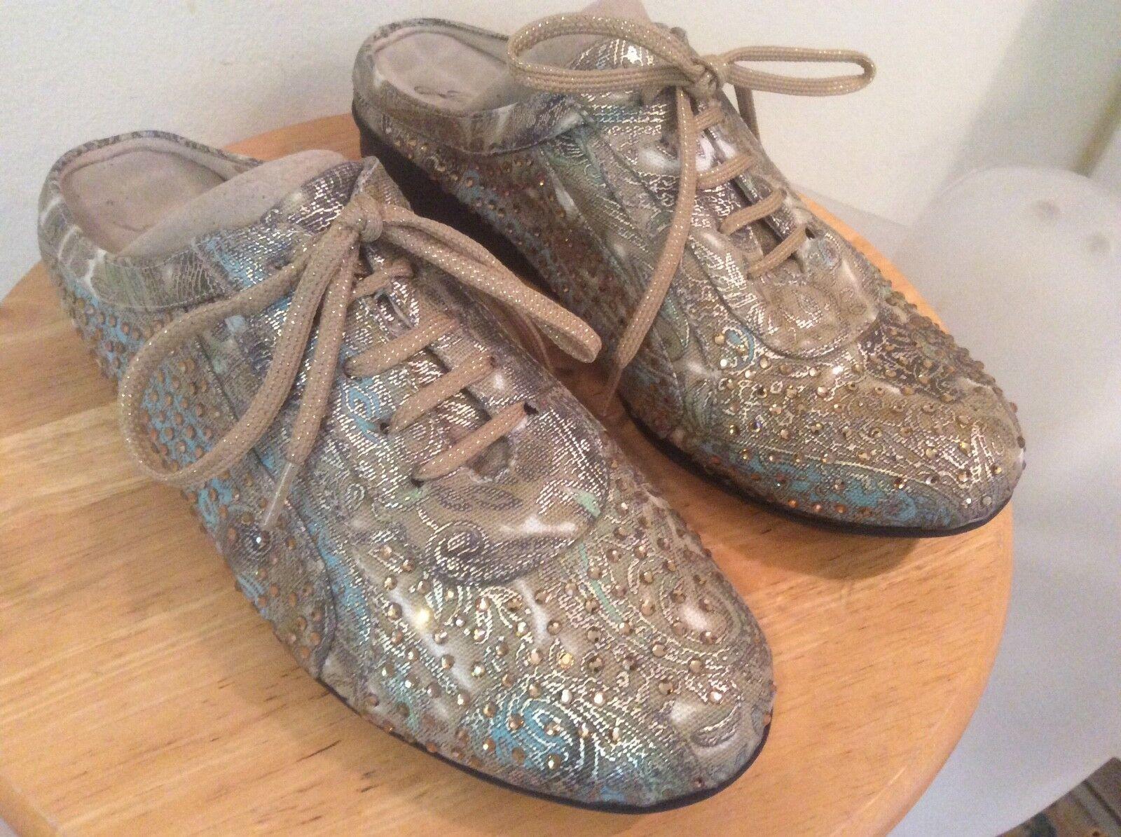 Joan Boyce - Sz Crystal 8 M Art-to-Wear Crystal Sz Paisley Gold Slide Mules Shoes 46246b