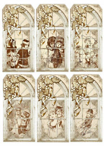 Sepia-Windows-Christmas-Tag-Style-Glossy-Finish-Card-Making-Topper-Crafts