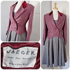 JAEGER wool jacket 1940'S STYLE tuxedo VELEVET COLLAR 1980's grey burgundy 12 14