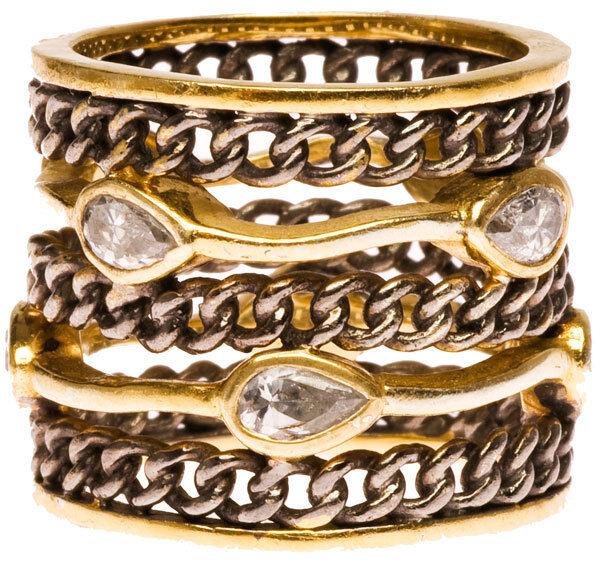 Melinda Maria Oxidized Link Ring Sz 5 NWT