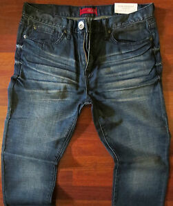 Guess-Slim-Straight-Leg-Jeans-Men-Size-34-X-32-Vintage-Distressed-Dark-Wash