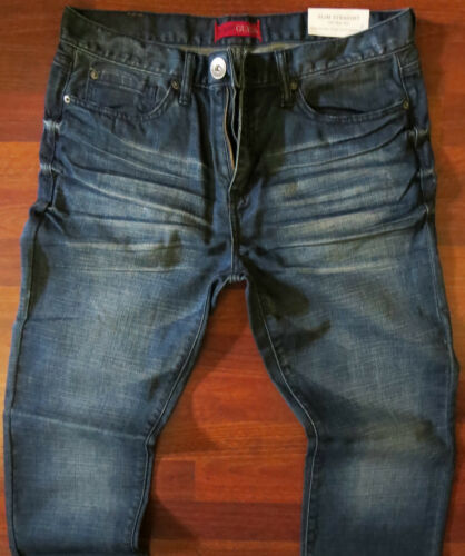 Guess Slim Straight Leg Jeans Men/'s Size 34 X 34 Classic Distressed Wash NEW