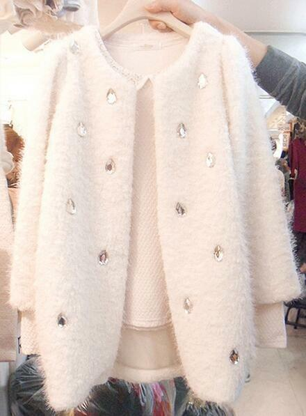 Womens Rhinestones Sweet Wool Blend New Cashmere Outerwear Round Collars Coats